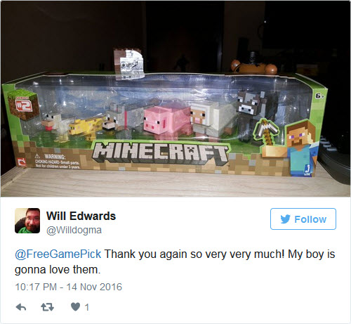 Minecraft Toys Giveaway Winner!